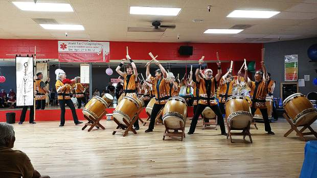 Grass Valley Taiko Drummers perform.
