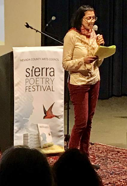 Sara Borjas reading during the Sierra Poetry Festival April 27 at Sierra College.
