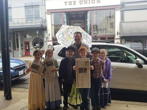Grass Valley Charter School students toured downtown Wednesday morning, learning about the history of community and its buildings. Among their stops was the former site of The Union at 151 Mill St., where they talked with Editor Brian Hamilton about the newspaper and the building that formerly housed it.