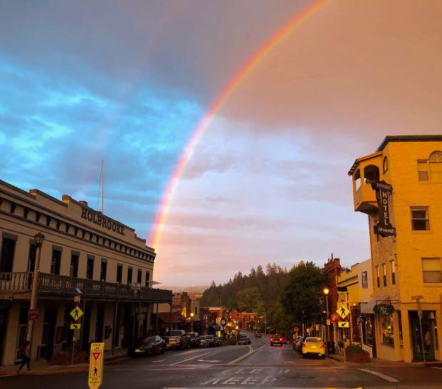 Rainbows in downtown Grass Valley Wednesday evening (May 22).