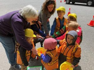 Mighty Acorns Preschool students learn the operations of Nevada City public works officials
