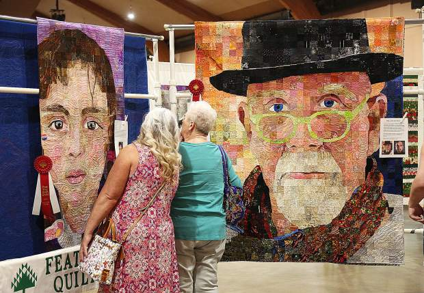 Featured quilter Sandra Bruce's detailed and lifelike portraits sewn into her quilts.