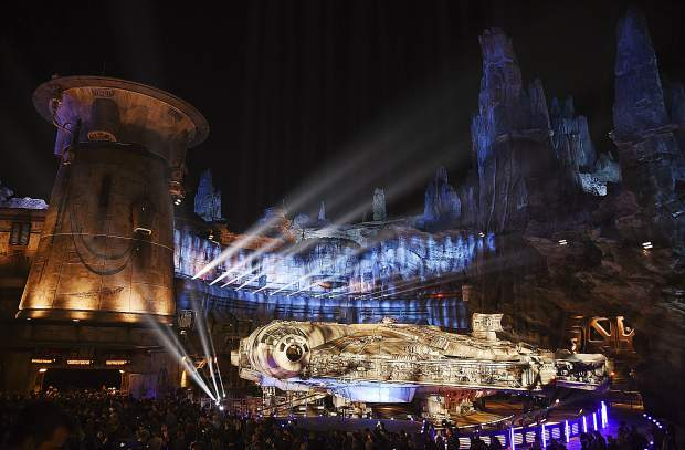 The Millennium Falcon starship is pictured during a dedication ceremony for the new Star Wars: Galaxy's Edge attraction at Disneyland Park, Wednesday, May 29, 2019, in Anaheim, Calif. (Photo by Chris Pizzello/Invision/AP)