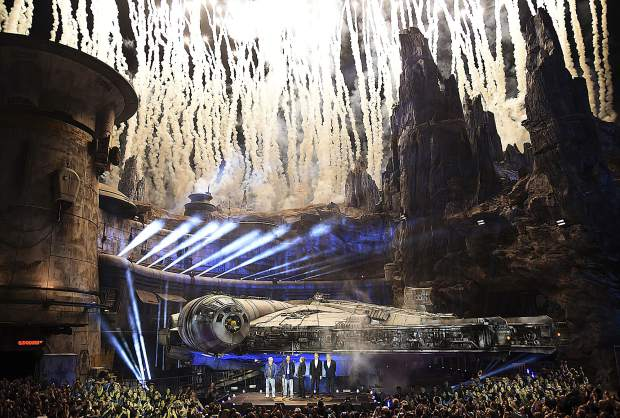 Fireworks go off during a dedication ceremony in front of the Millennium Falcon during the Star Wars: Galaxy's Edge Media Preview at Disneyland Park, Wednesday, May 29, 2019, in Anaheim, Calif. (Photo by Chris Pizzello/Invision/AP)