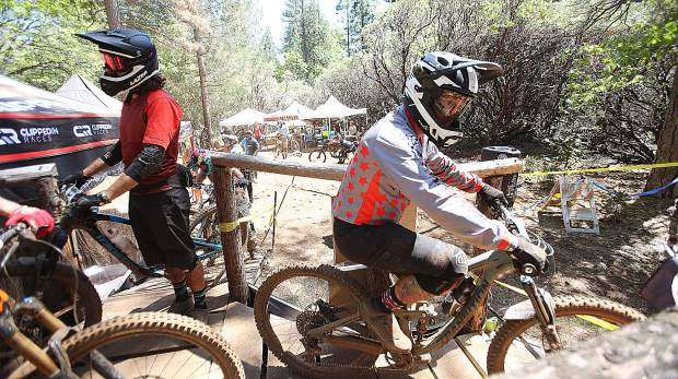 Team Semper Fi's Ryan Beamish readies to race down the course during Saturday's TDS Enduro festivities in Grass Valley.