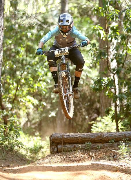 A female rider catches some air during Saturday's TDS Enduro competition. 126 riders took part in the event this year, 19 of them women.