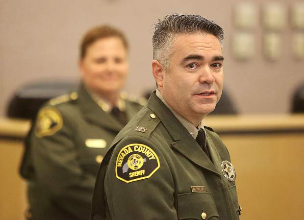 Nevada County Sheriffs Captain Mike Walsh becomes emotional and thanks all those in the room after accepting his promotion and badge pinning for the position of Captain, the highest promotable position in the Sheriff's department.
