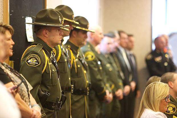 The Nevada County Sheriff's Honor Guard was on hand alongside a room full of law enforcement and fellow first responders for Wednesday's badge pinning ceremony.