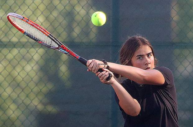 Emmy Christensen returns a ball to her Amador opponent during the team finals matches at Bear River High School May 7.