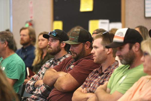 Members of the public listen to the comments of those in favor of the draft cannabis ordinance during Tuesday's Nevada County Board of Supervisors meeting.