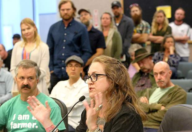 Local cannabis lawyer Heather Burke was one of the many in attendance of Tuesday's Nevada County Board of Supervisors meeting at the Eric Rood Administrative Center regarding the proposed cannabis ordinance. The public comment period lasted over two hours with most asking for an increase in production space from 25 percent to 90 percent of the total space.
