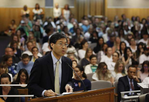 State Sen. Dr. Richard Pan  urges lawmakers to approve his proposal to give state public health officials instead of local doctors the power to decide which children can skip their shots before attending school, at the Capitol, Wednesday, April 24.