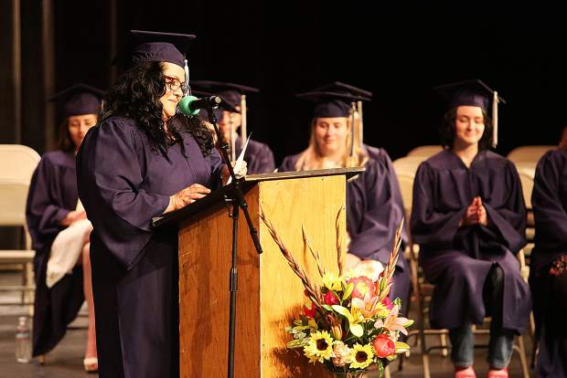 Student Speaker Leticia Garcia speaks of her trials and tribulations involved in her path to attain her high school diploma as an adult during Tuesday's Nevada Union Adult Education graduation ceremony for the class of 2019.