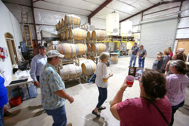 Nevada County Farm Bureau 2019 Ag Tour attendees get an up-close and personal look at the inner workings of Pilot Peak Winery during one of their five scheduled stops throughout western Nevada County Wednesday.