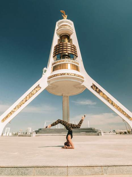 Nevada City's Lexie Alford, shown here in Turkmenistan, broke the record as the youngest person to travel to all 196 countries at the age of 21.