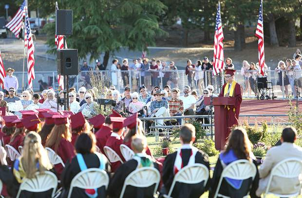 Bear River valedictorian for the graduating class of 2019 Asa O'Callaghan gives his