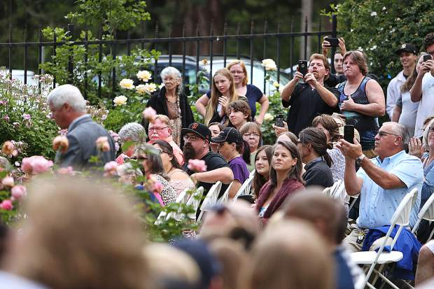Family members filled the seats at the Mount Saint Mary's Rose Garden during Friday evening's graduation.
