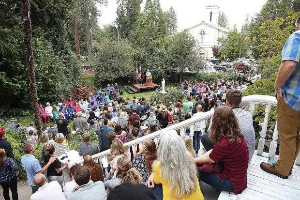 Attendees of Bitney Prep High School's Class of 2019 Commencement exercises filled the seats and lined the stairs at the St. Mary's Academy Rose Garden Friday evening.