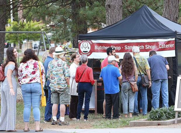 Folks could bring their own picnic food to the Pine Tree Stage at the Nevada County Fairgrounds or purchase a bratwurst from the Ham Stand who had a food booth available for attendees of Tuesday evening's show.