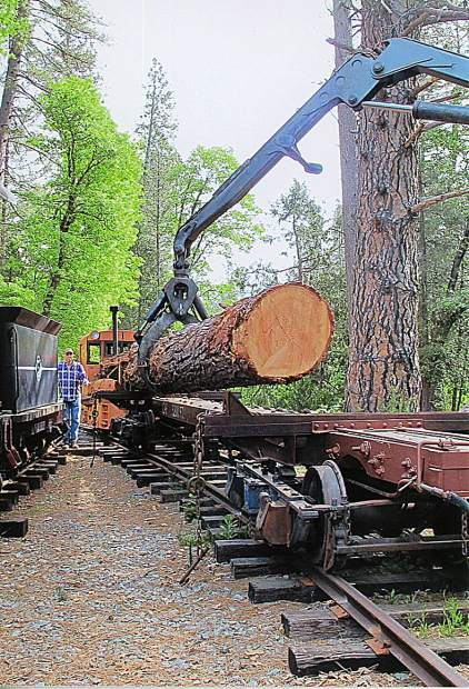 Dennis Elliot volunteered to move three 30-foot logs for the Nevada County Narrow Gauge Railroad and Transportation Museum.