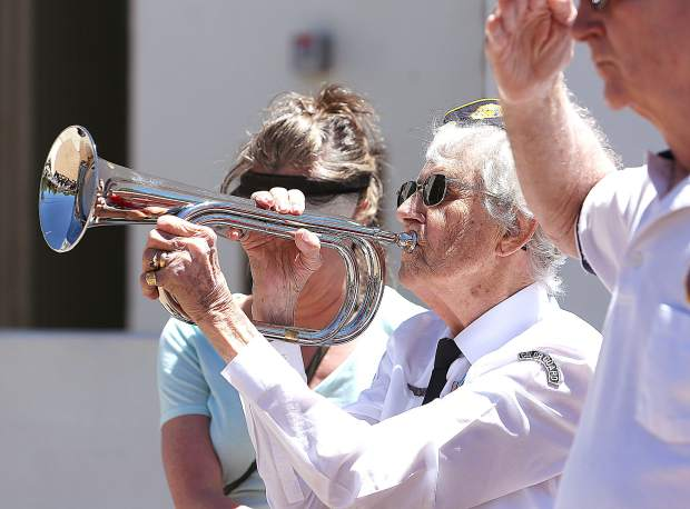World War II veteran Bernie Bachli was also in attendance of Thursday's D-Day ceremony at the Grass Valley Veterans Memorial Building and held the bugle playing taps. During WWII, Bachli delivered constructed planes for the war effort and worked in cyber intelligence.
