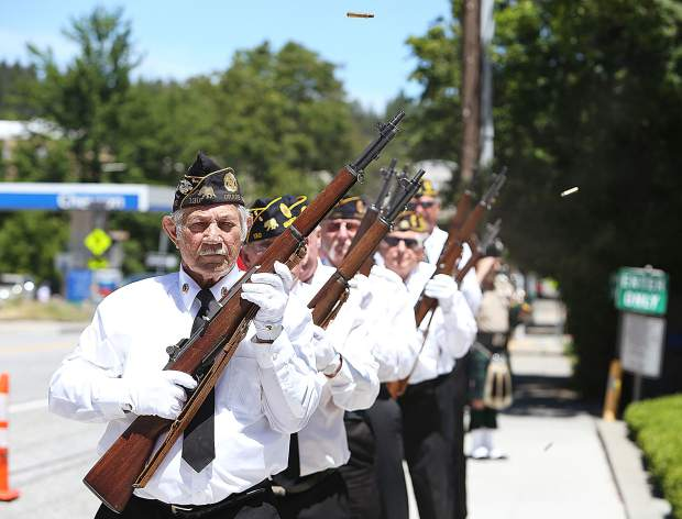 American Legion Frank Gallino Post 130 Honor Guard members conduct their 21 gun volley during the D-Day ceremony held in honor of the 75th anniversary of Operation Overlord in front of the Grass Valley Veterans Memorial Building Thursday afternoon.