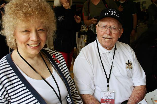 Veteran Warren Gross, 94, attended the anniversary ceremony with his daughter Rhonda.