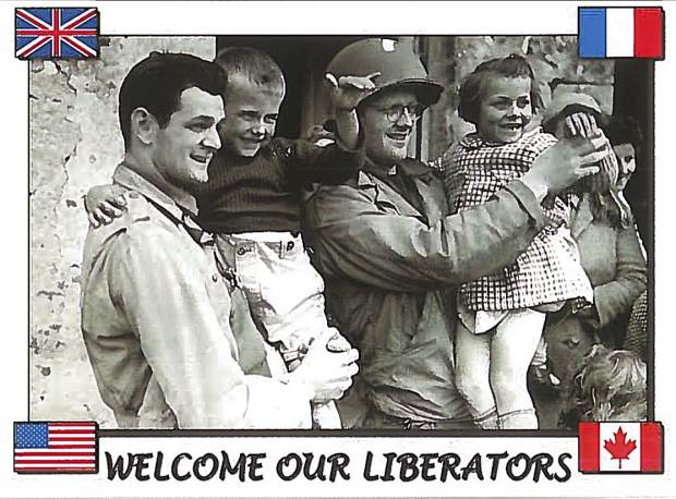 Gilbert Des Clos, left, being held by an American soldier, 1944. The photo was used for the 50th anniversary of D-Day banners.