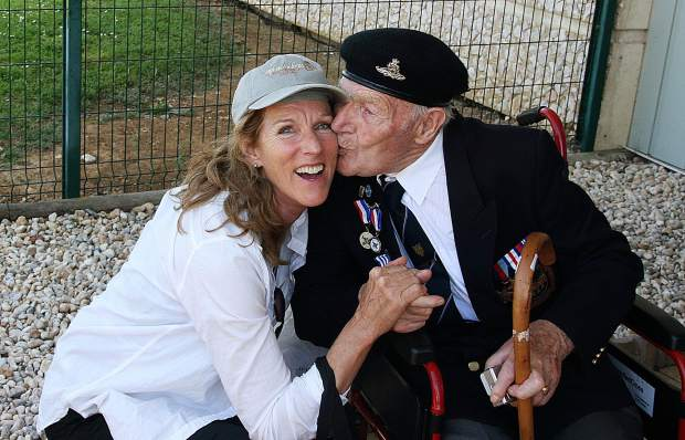 Diane Covington-Carter with a 93-year old British veteran at the 70th anniversary of D-Day, Pegasus Bridge, Normandy France.
