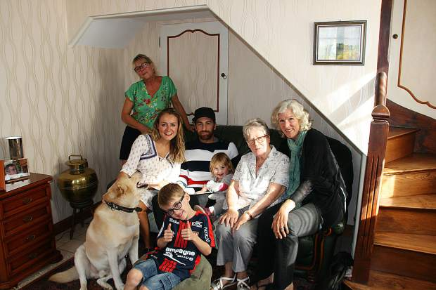 Diane Covington-Carter with Gilbert's family in a recent photo in Normandy. His widow, Huguette, daughter, Cathy, grandson, Benoit and partner Marion, great grand-children Lya and Tim and dog, Fracas.
