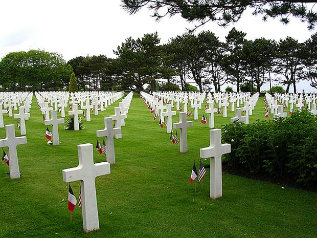 Photo of the cemetery in Colleville-sur-Mer, France where almost 10,000 American soldiers are buried, designated as a piece of American soil in Normandy.