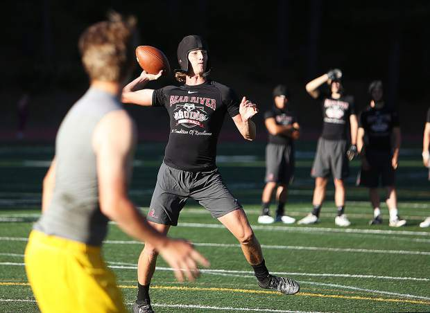 Bear River's Tre Maronic throws during a 7-on-7 non-contact scrimmage against Nevada Union High School Wednesday afternoon at Hooper Stadium. Maronic was an All-PVL First Team selection as a running back last season. This season he will be playing quarterback for the Bruins.
