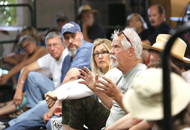 Members of the Bitney Springs firewise community express concerns during a recent meeting held at Nevada City School of the Arts.