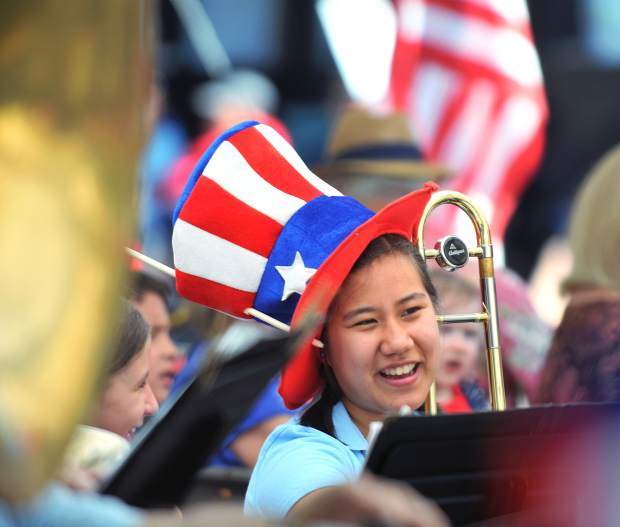 Nevada County Concert Band member Dorothy Bechler smiles in between playing tunes on the trombone prior to the 2017 Fourth of July parade in Grass Valley in this archive photo.