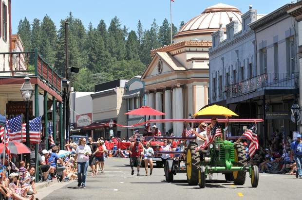Parade entries roll down Mill Street  for the 2017 Fourth of July parade in Grass Valley in this archive photo.