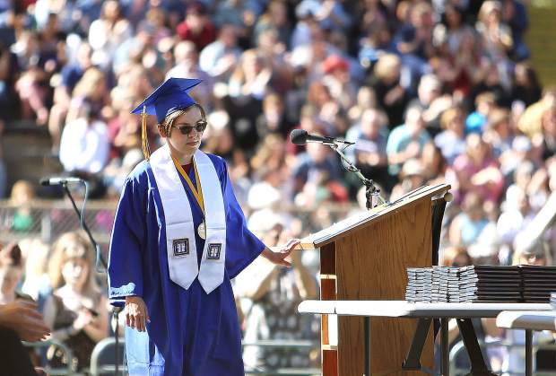 Valedictorian Speaker Alexandria D. Howard gave her speech to the Nevada Union High School graduating class of 2019 and stadium full of graduation ceremony attendees.