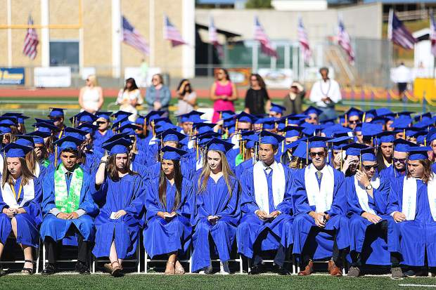 The Nevada Union High School class of 2019 await their graduation during Saturday morning's graduation ceremony.