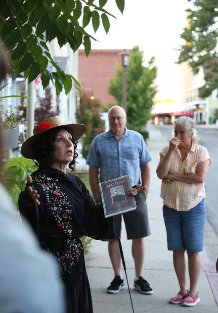 Lola Montez stands in front of the Lotta Crabtree house in downtown Grass Valley. Montez was said to have been a mentor of Crabtree.