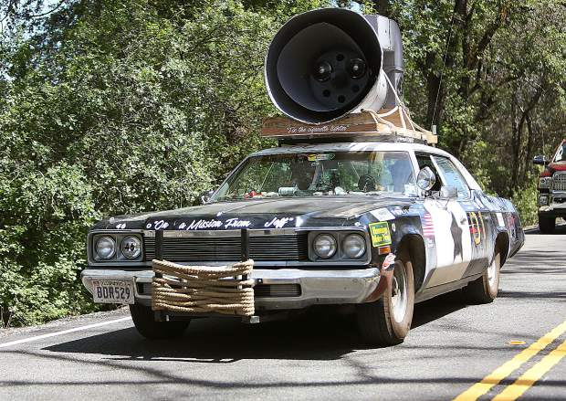Participating vehicles varied in all shapes and sizes from 1974 and older, including this Blues Brothers inspired tribute car.