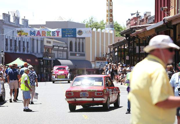 Brocke's Datsun follows Molly Maroon the Packard owned by Bill and Carolyn Croker, both Nevada County entrants in the 2019 Great Race. Den Reinholdt, also a Nevada County participant, experienced car troubles.