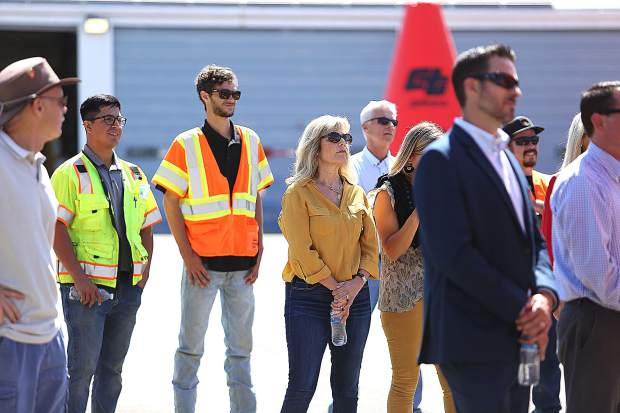 Caltrans, Placer County and Auburn City officials look on as the beginning of a more than two-year and $40.5 million project breaks ground Friday morning in Auburn.