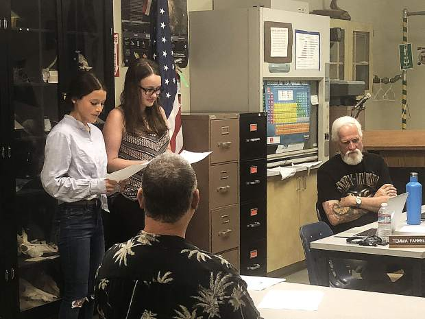Maggie Aguilar (left) will take over for Temma Farrell (right) as the student board of trustees representative for the Nevada Joint Union High School District next year. Aguilar is a junior -- the youngest student to be elected to the board by her peers.