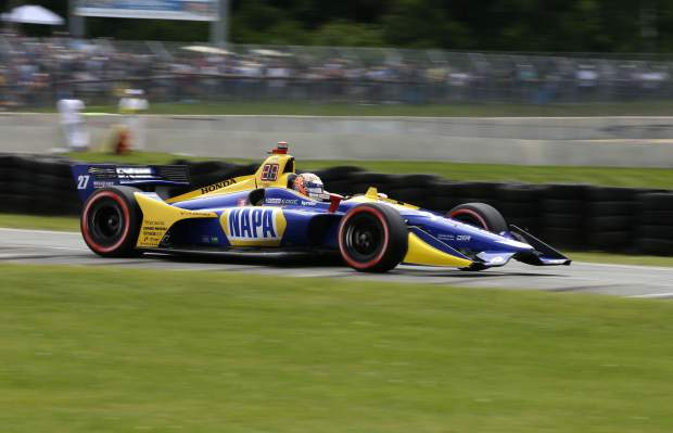Alexander Rossi (27) exits turn 5 during the Rev Group Grand Prix, Sunday, June 23, 2019, at Road America in Elkhart Lake, Wis. Rossi won the race.