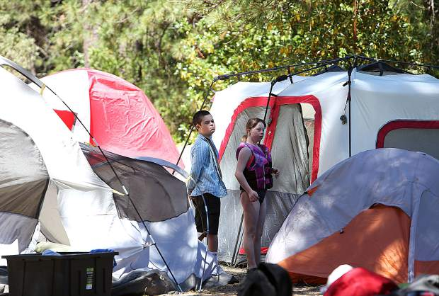 About 30 extended school year program special eduction students participated in the summer campout at Scotts Flat Lake.