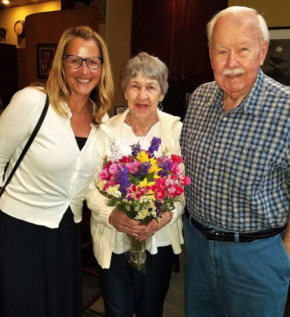 Tom and Nancy Baldwin of Lake Wildwood celebrated their 61st wedding anniversary and Nancy's 81st birthday with loving hugs, tears of joy, and a beautiful bouquet from daughter Michelle Ellis of Sacramento.