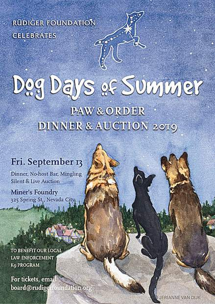 The Rüdiger Foundation's poster promoting its Sept. 13 fundraiser features local K9 officers staring up at Sirius, the Dog Star constellation.