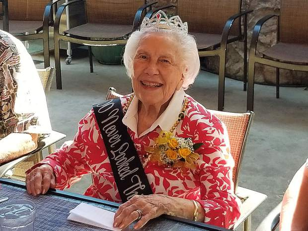 "Jeanne Strohm celebrated her 100th birthday sporting a tiara and sash that read, ""100 Never Looked This Good."""