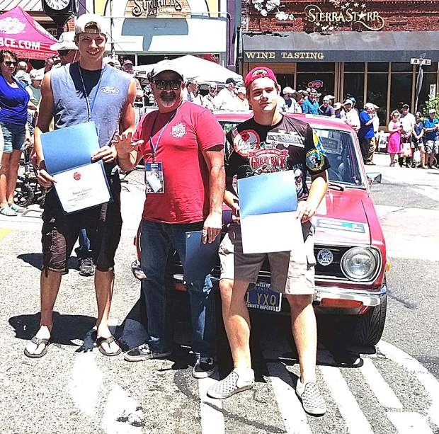 Robert Brocke (center) and his X-Cup Class high school navigators Damian Christen (left) and Seth DeSena enjoyed their stop in Grass Valley while competing in the 2019 Great Race from Riverside, CA to Tacoma, WA.