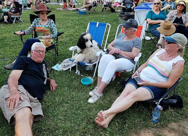 (Back row, left to right): Catherine Dawson, the stately Standard Poodle Enzo, Nancy Chaloupka, and Donna Jones. Reclining: Terry Lincoln.