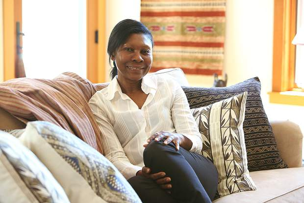 Eno Jonah, who is originally from Nigeria, has her own textile company called Nzuri Textiles, some examples of which are shown in the designs which decorate her Nevada City home.